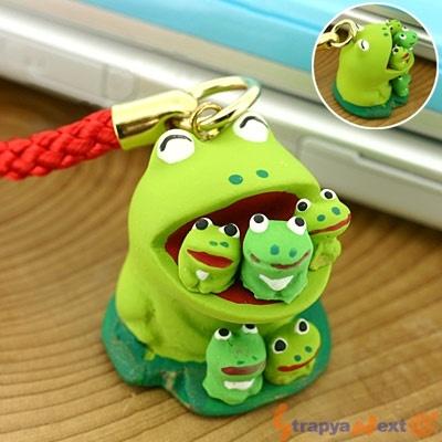 Singing Frog Family Netsuke Cell Phone Strap