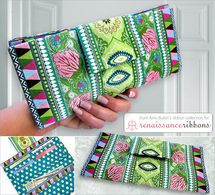 Ribbon Fold-over Wallet with Amy Butler ribbons