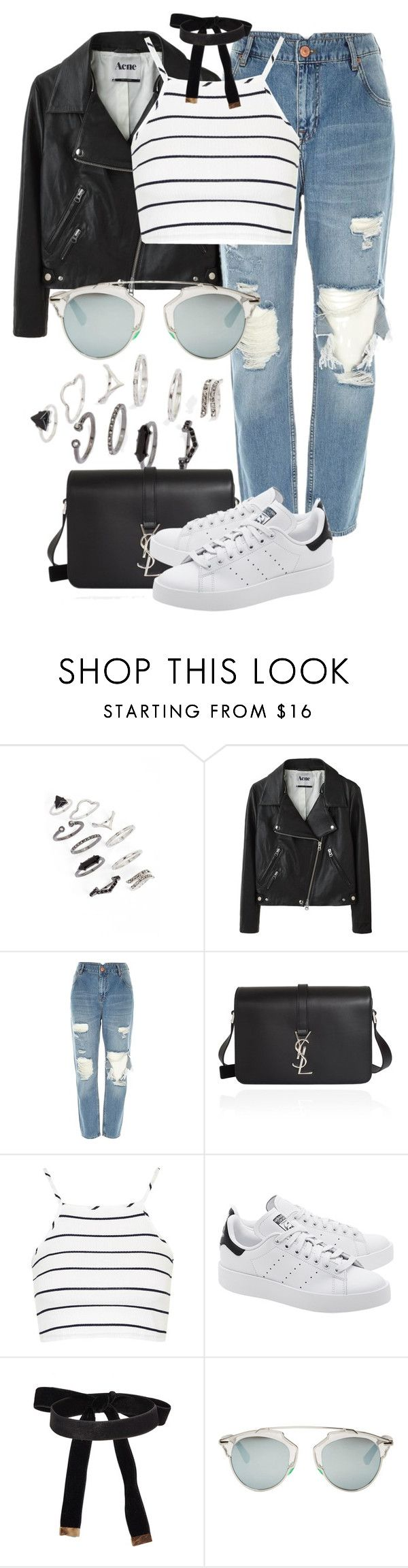 """""""Untitled #2349"""" by annielizjung ❤ liked on Polyvore featuring Topshop, Acne Studios, River Island, Yves Saint Laurent, adidas Originals and Christian Dior"""