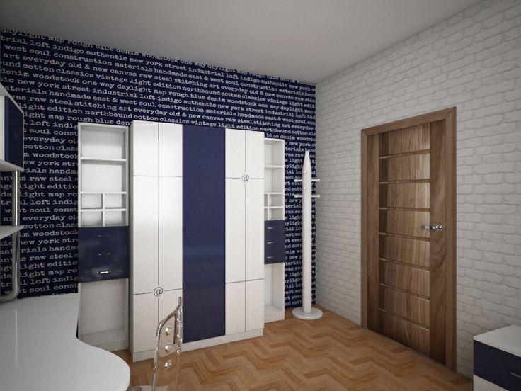 Projekt pokoju dla 17l chłopca. W projekcie wykorzystano zestaw z serii nowoczesnej Fiorentino 553 oraz tapety marki Esta Home.
