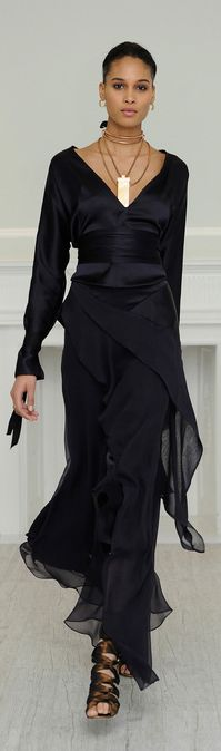 Juan Carlos Obando RTW Fall 2013 | black crepe dress | lettuce hem | long sleeves