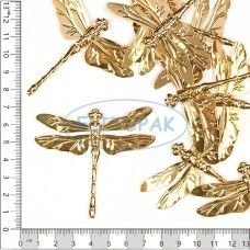Декор Стрекоза светлое золото 10 шт в упак - Металлическая фурнитура и декор-82р 10шт