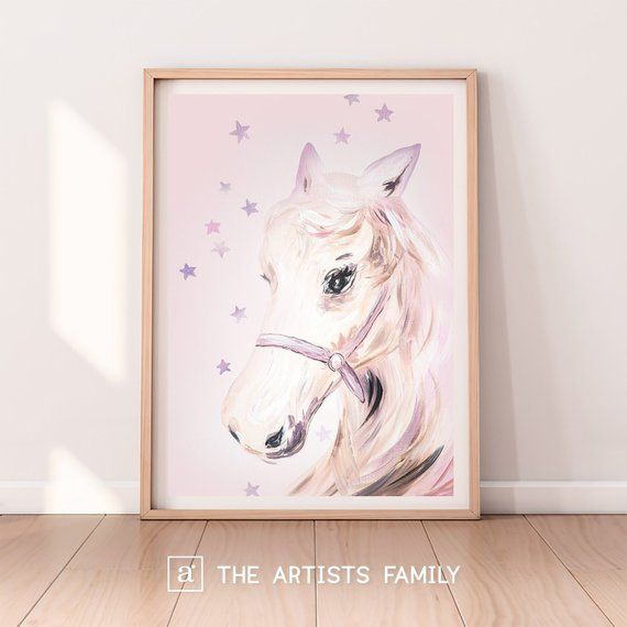Pink Horses Carousel Kids Room Wall Picture Art Print