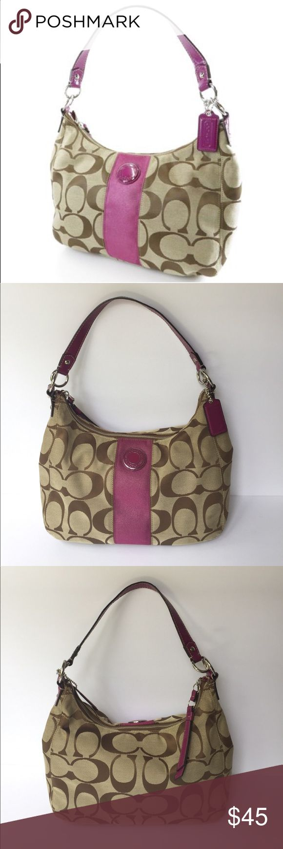 Coach Hobo Bag In great USED condition has a beautiful violet/purple stripe in the middle has signs of wear on bottom and on zippers end inside has small removable pen marks and marks on top lining. 0156712789 Coach Bags Hobos