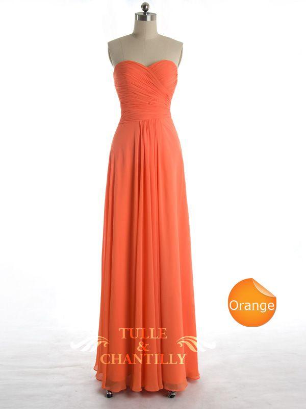Modest Orange Chiffon Cross Ruched Sweetheart Bridesmaid Dress #tulleandchantilly