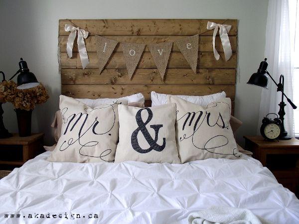Mr & Mrs pillows Drop Cloth Pillows