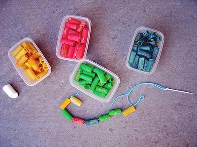 "DIY threading ""beads"" for kids- winter activity idea for Gavin."