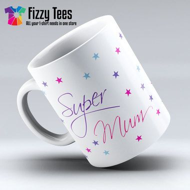 Super Mum Stars Mug | Cool Gifts for Mums can be found at www.fizzytees.co.uk
