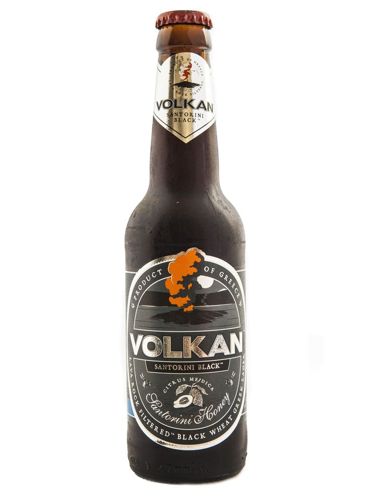 VOLKAN SANTORINI BLACK TYPE OF BEER: black wheat lager (schwarz) PRODUCT DESCRIPTION: inspired by the black rocks filtered in the filter unit basalt from the volcano of santorini and adding honey and naxos citrus, create a unique beer