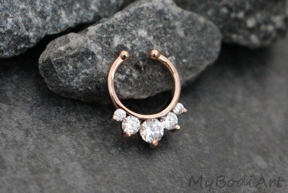 Fake Septum Ring Faux Septum Ring Clip On Gold Non by MyBodiArt