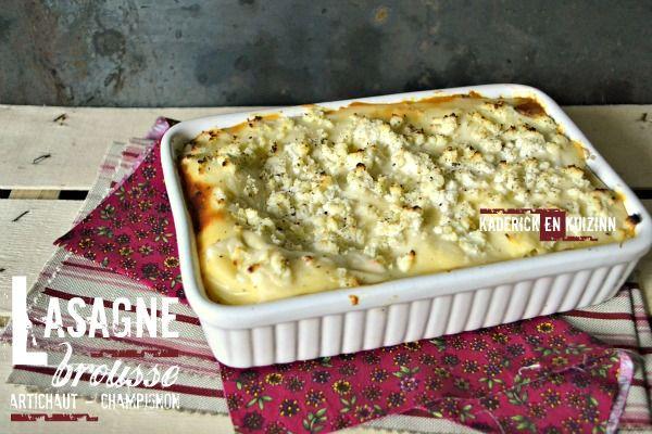 Lasagnes fraiches végétariennes au fromage frais de brousse de tradition ariégeoise, cœur d'artichaut vapeur et champignon de Paris chez Kaderick en Kuizinn