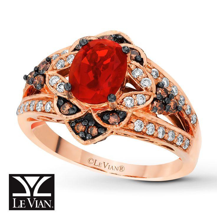 LeVian Fire Opal Ring 1/2 ct tw Diamonds 14K Strawberry Gold