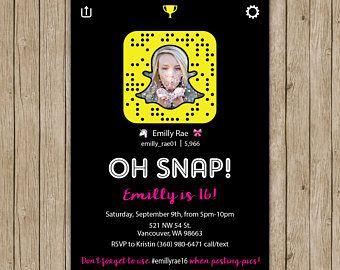 Snapchat Birthday Invitations- Digital File OR Printed Invites- Snapchat Party- Birthday Invites- Snapchat Birthday- Social Media Party