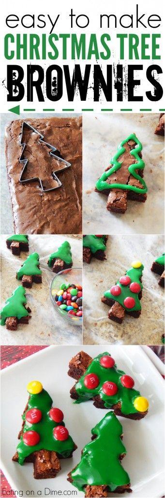 how to make christmas tree brownies with kids