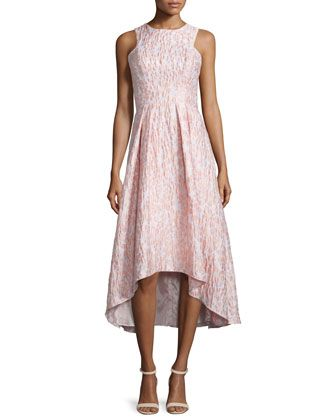 Sleeveless printed high low cocktail dress blush by for Neiman marcus wedding guest dresses