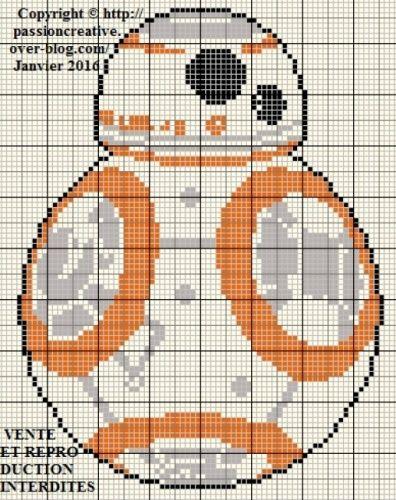 Grille gratuite point de croix : Star Wars BB8 | Point de ...