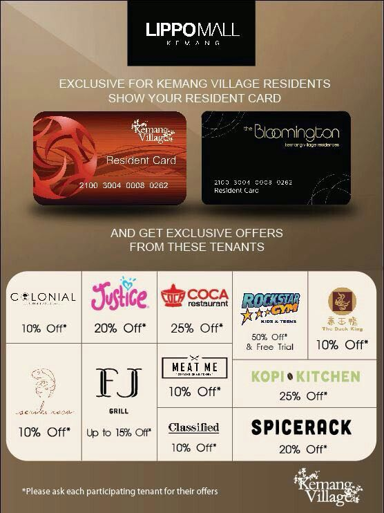 Calling all residents of Kemang Village! Take up on fantastic offers when you dine and shop at Lippo Mall Kemang tenants. #kemangvillage #kemang #lippomallkemang