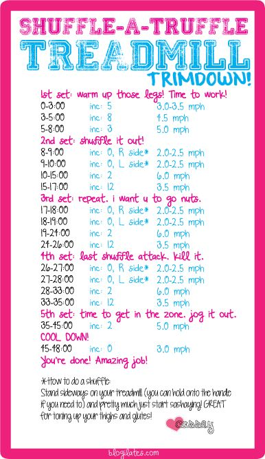 Treadmill shuffle Routine