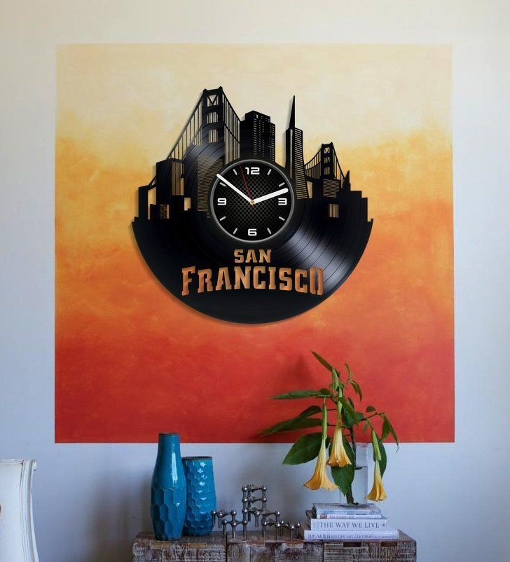 Travel Art Gift From San Francisco Golden Gate Bridge Wall Clock 12 Inch San Francisco Vinyl Record Wall Clock Gift Wall Clock Gift Retro Clock Vinyl Wall Art