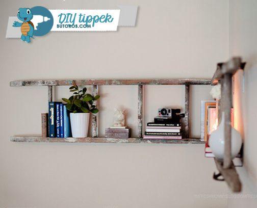 LÉTRÁBÓL KÖNYVESPOLC  A tavaszi nagytakarításban találtál egy használt létrát a padláson? Alakítsd át könyvespolccá - egyedi, természetes hatású kiegészítő, és nem utolsósorban: ingyen van! ;) #diy #könyvespolc