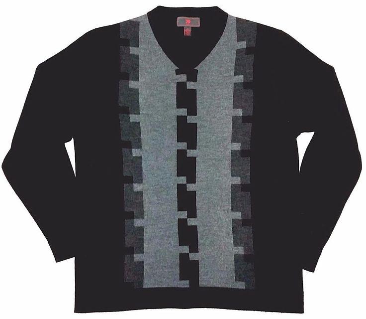EGARA Men`s Black Gray Merino Wool Sweater Pullover V Neck sz L #EGARA #VNeck
