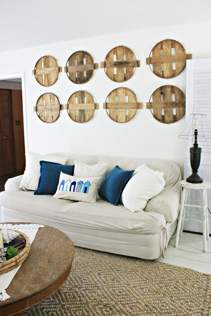 Diy Beach Hut Throw Pillow With Images Farmhouse Decor Living