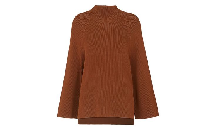 Rib Mix Cape Sleeve Sweater, in Brown on Whistles