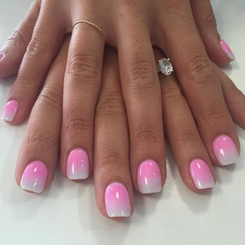 Pink and white ombré dip powder nails for the bride to be, done by KC. #ombre #nailstagram #nails2inspire #nails #ombrenails…