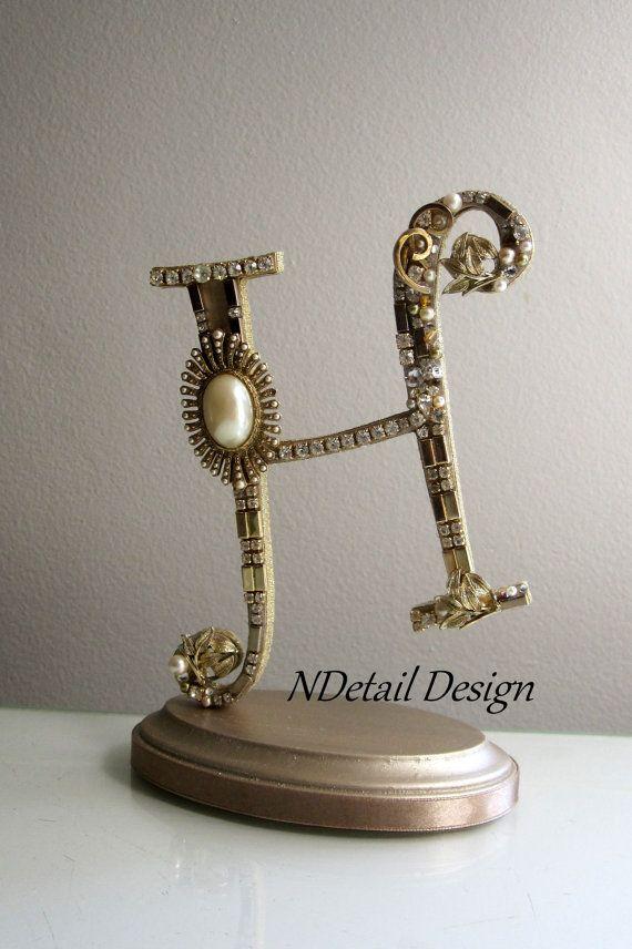 Monogram art deco gatsby theme wedding cake topper letter h gold amp i