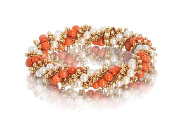 A cultured pearl and coral bracelet, by Van Cleef & Arpels,