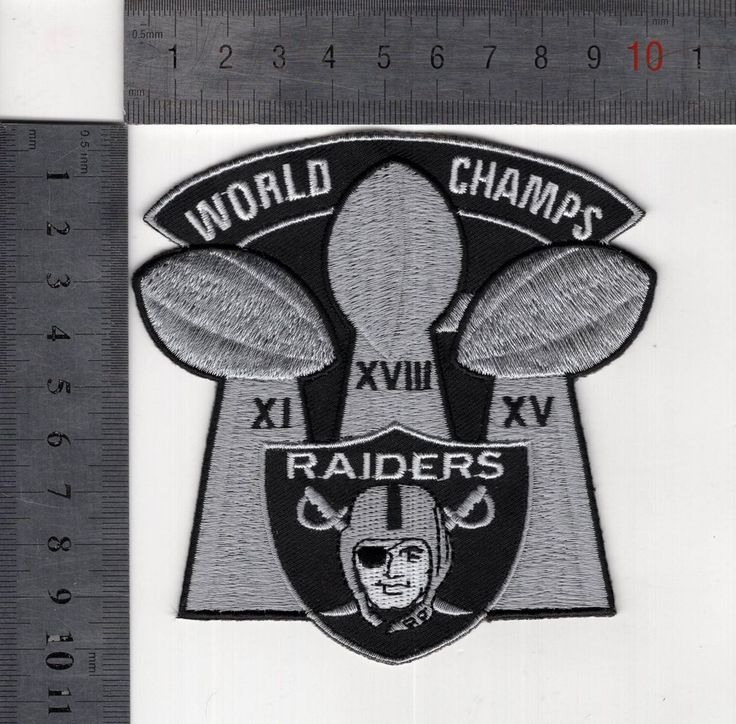 "OAKLAND RAIDERS JERSEY PATCH ""WORLD CHAMPS"" 3-SUPER BOWL TROPHY IRON/SEW ON NEW! 