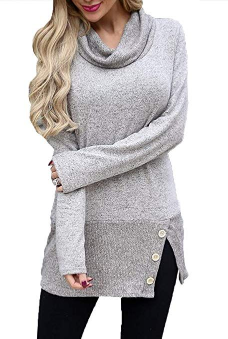 cea7c82b69 Merryfun Women s Turtleneck Sweaters Cowl Neck Long Sleeve Knit Pullover  Blouse Solid Loose Fit Tops Causal Shirts