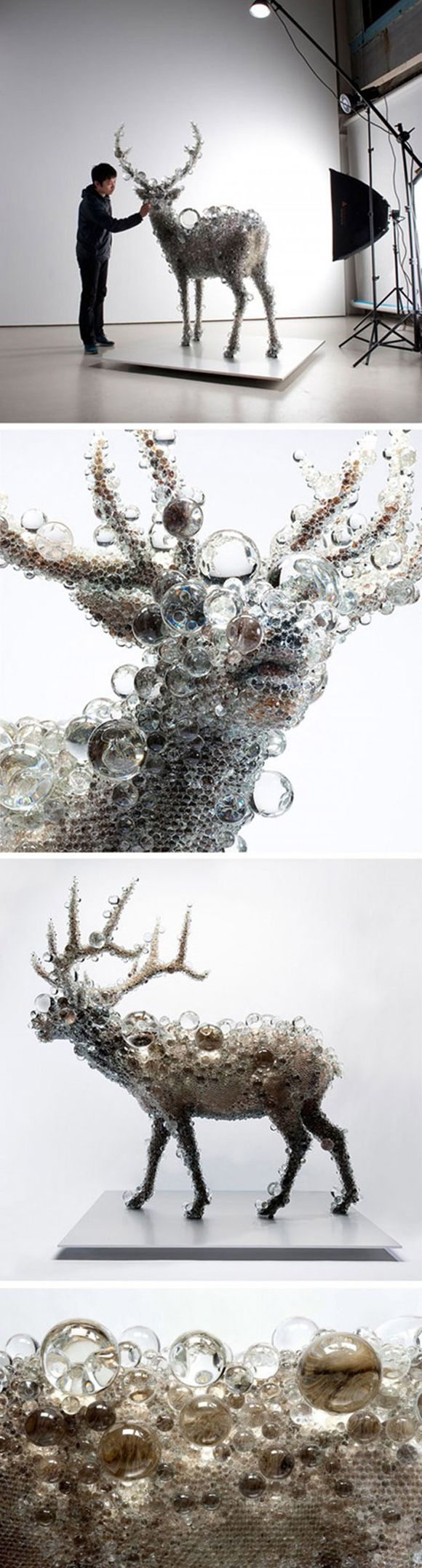 Deer sculpture made completely of glass. love! somehow i need to make a sculpture of a deer, made out of wood. ah! 剥製にガラスの球体を付けるという発想と大小のガラスの球体の配置バランスが良いと思う。お気に入りの作品です
