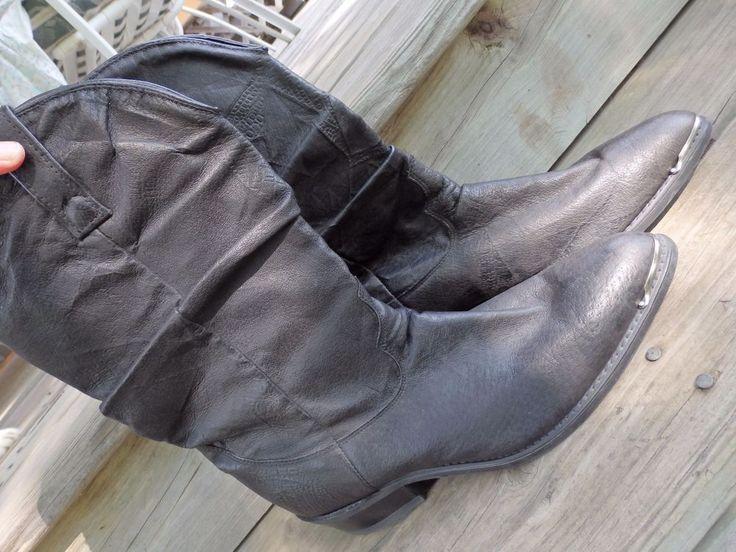 Dingo Men's tall black cowboy boots - knee-high -steel toe men's Sz 8 1/2 D #Dingo #CowboyWestern