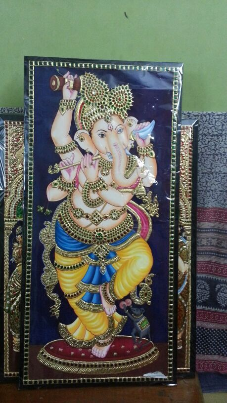 Tanjore painting of Lord Ganesh.......