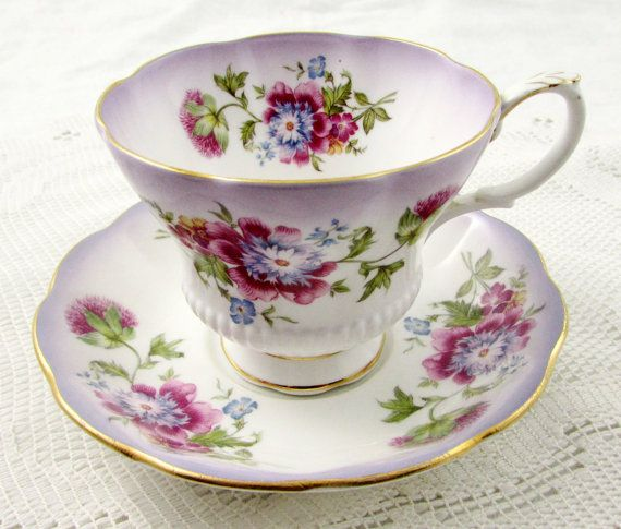 Royal Albert Reflection Series Purple Tea Cup and Saucer, Vintage Bone China