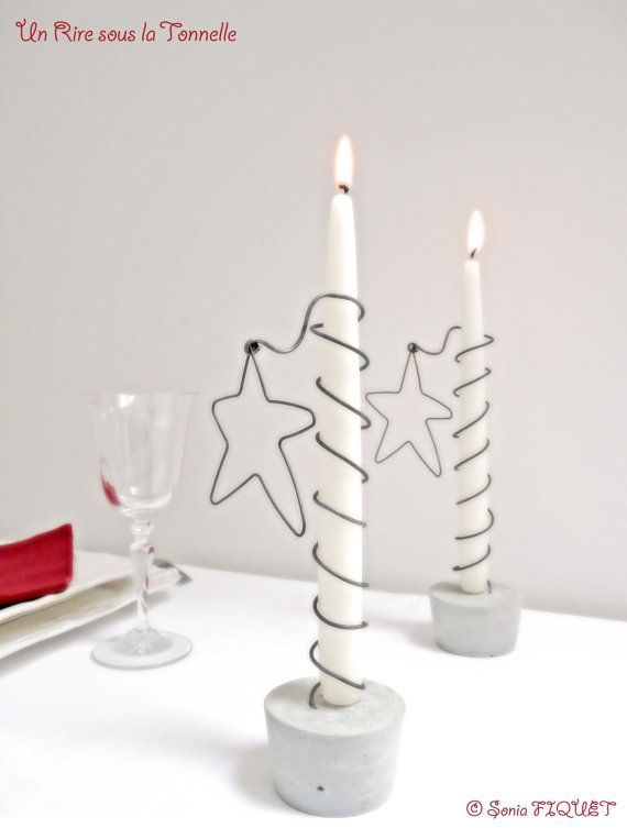 Candle Holder Star Wire & Concrete by UnRiresousl…