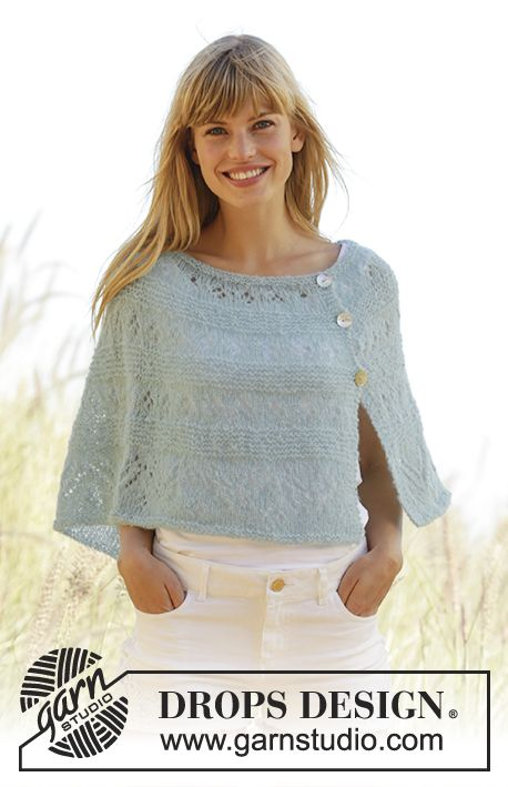 """DROPS poncho in garter st with lace pattern and buttons in the side, worked top down in """"Brushed Alpaca Silk"""" Free #knitting Pattern"""