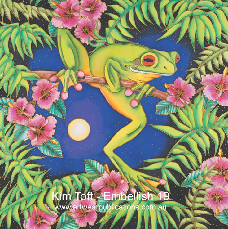 Kim Toft is an incredible silk painter - read about Kim and her art in Embellish issue 19.  www.artwearpublications.com.au  #silkpainting #frog