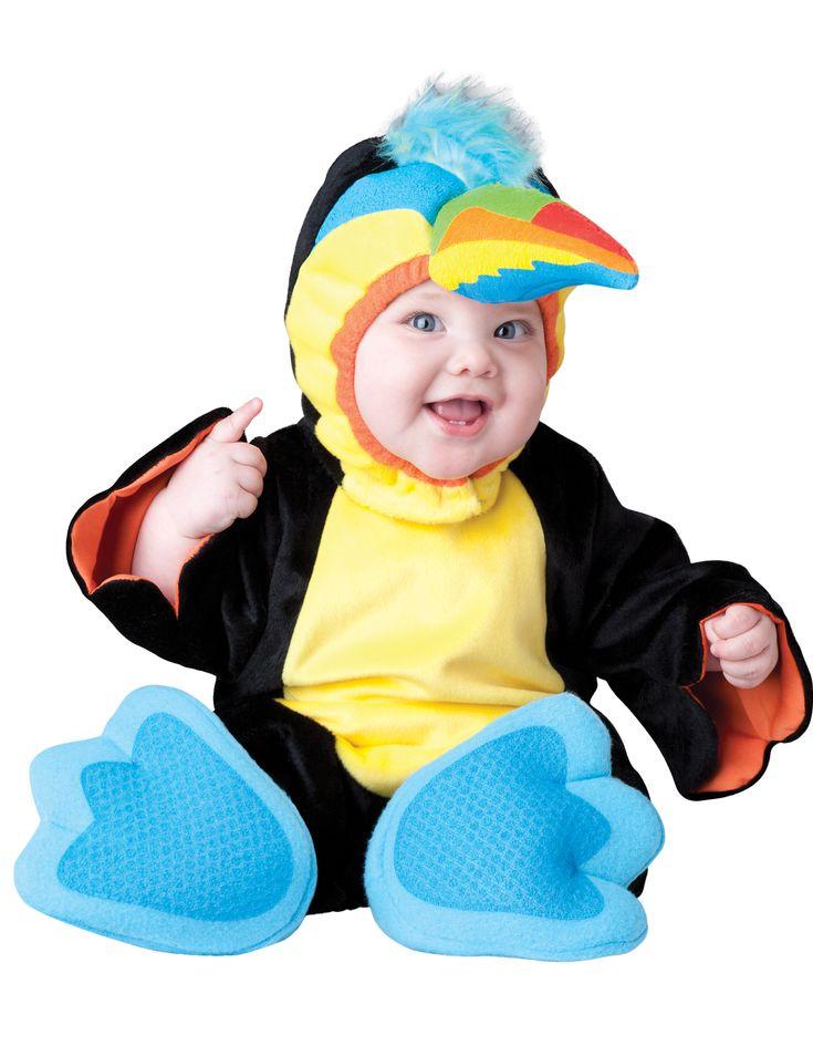 Déguisement Toucan pour bébé - Premium : Ce déguisement pour bébé est composé d'une combinaison, d'une cagoule et d'une paire de chaussons.La combinaison est majoritairement noire avec le centre jaune...