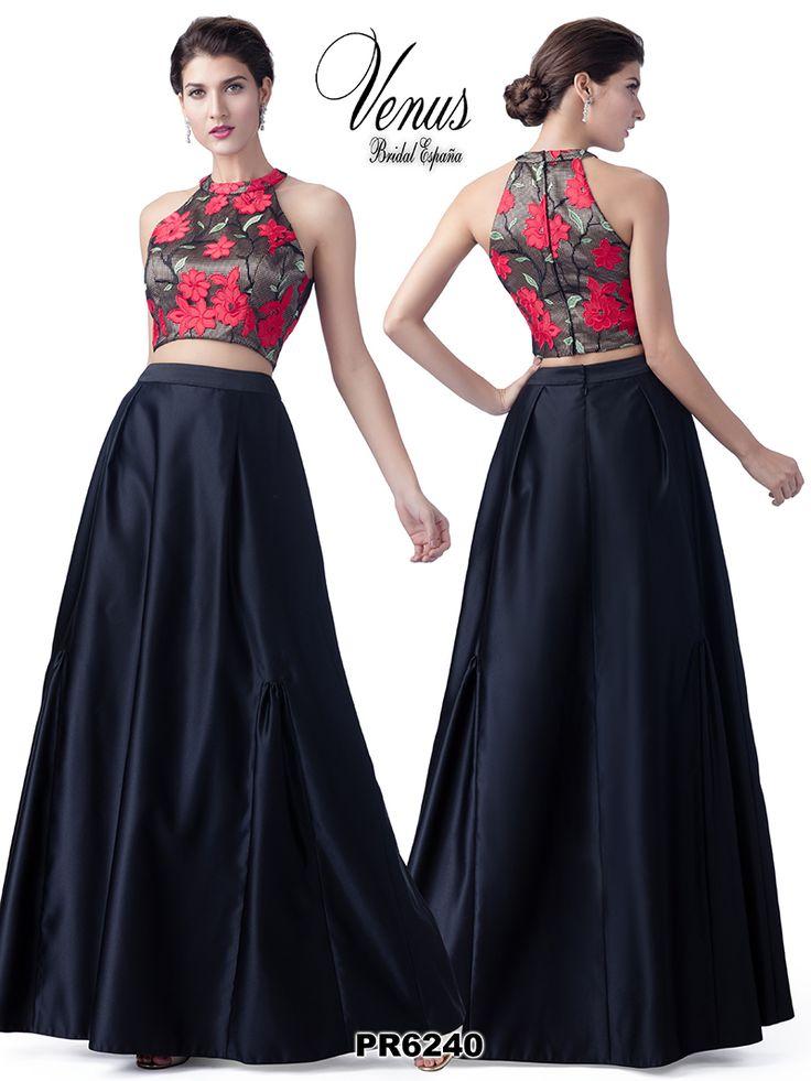 Conjunto de dos piezas formado por falda larga y top con motivos florales. Puedes encontrarlo en la línea de #VenusFashion.