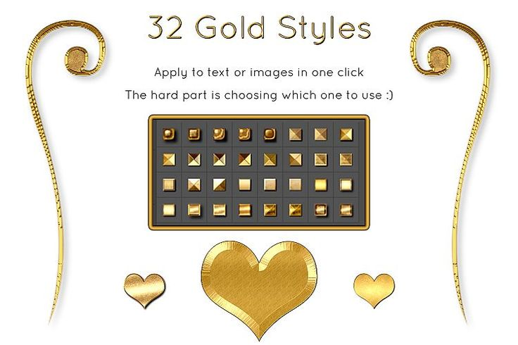 32 Gold ASL FX Styles, Photoshop Text Effects, Gold Foil Effect, Gold Stamp, Embossed Gold example image
