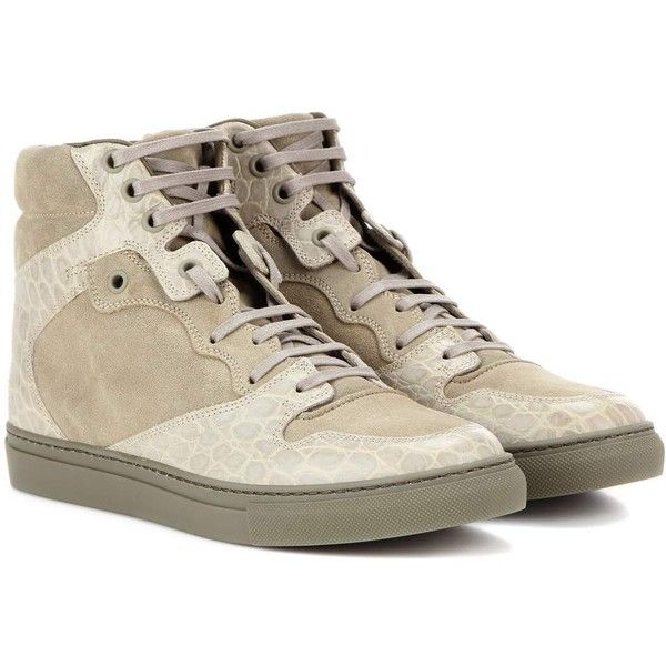 Balenciaga Leather and Suede High-Top Sneakers ($650) ❤ liked on Polyvore featuring shoes, sneakers, green, green high tops, leather high tops, leather high top sneakers, leather shoes and balenciaga high top