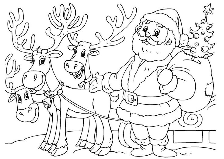 santa and his sleigh coloring pages santa claus and reindeer coloring pages for kids