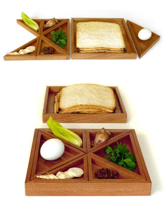 Tangram Passover Seder plate, Modern Seder plate and Matzah tray, design Playful Judaica, geometric style, Wedding gift, Wood Matza tray