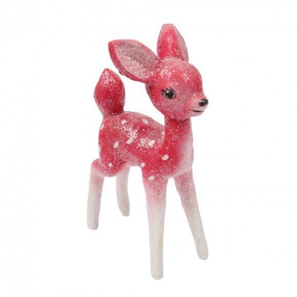 Pink retro deer Christmas decoration