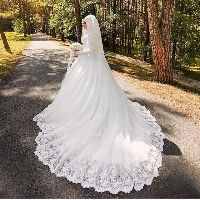 Vestido De Noiva Robe De Mariage Arabic Muslim Luxury Beautiful 80cm Long Trail Long Sleeve Hijab Wedding Dress with Veil 2017
