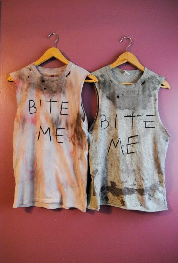 "Daryl Dixon ""Bite Me"" Tank  Your favorite zombie hunter's shirt is here and ready for the apocalypse.   This is a shirt modeled after Norman Reedus' famous ""BITE ME"" shirt.   Halloween Halloween Costume Daryl Dixon Zombies Zombie Hunter The Walking Dead"