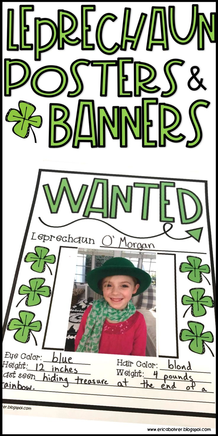 """Leprechaun """"wanted"""" posters and banners...perfect for St. Patrick's Day"""