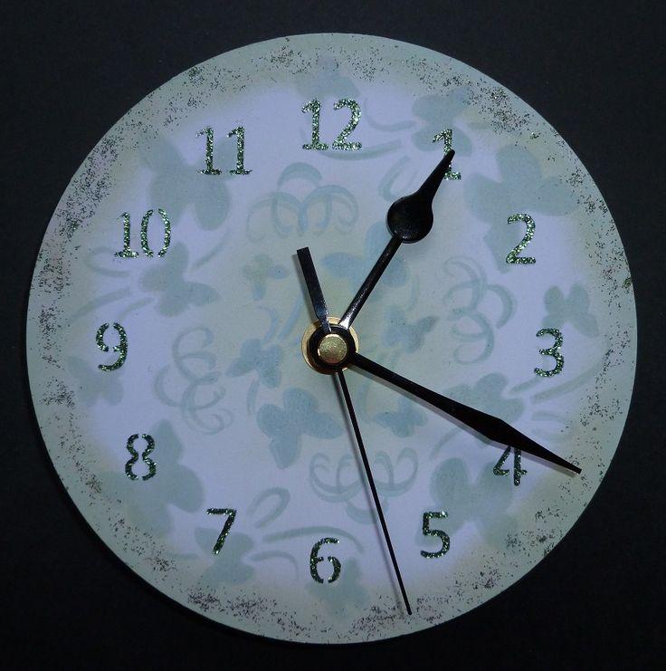 'Butterfly Swirl' MDF Clock. - Imaginations Craft's - Small MDF clock + mechanism.  Small clock face stencil. Butterflies swirl small round stencil. Golden green Sparkle Medium. Metal spatula. Chalkies- cornflower.  Chalk MDF paint. January 2015.